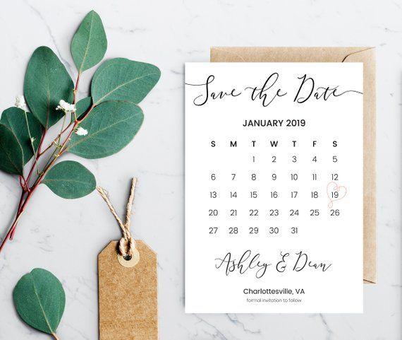 Calendar Save The Date Invitation Instant Download Invitation Template Editable Save The Date Invitations Invitation Template Wedding Invitation Templates