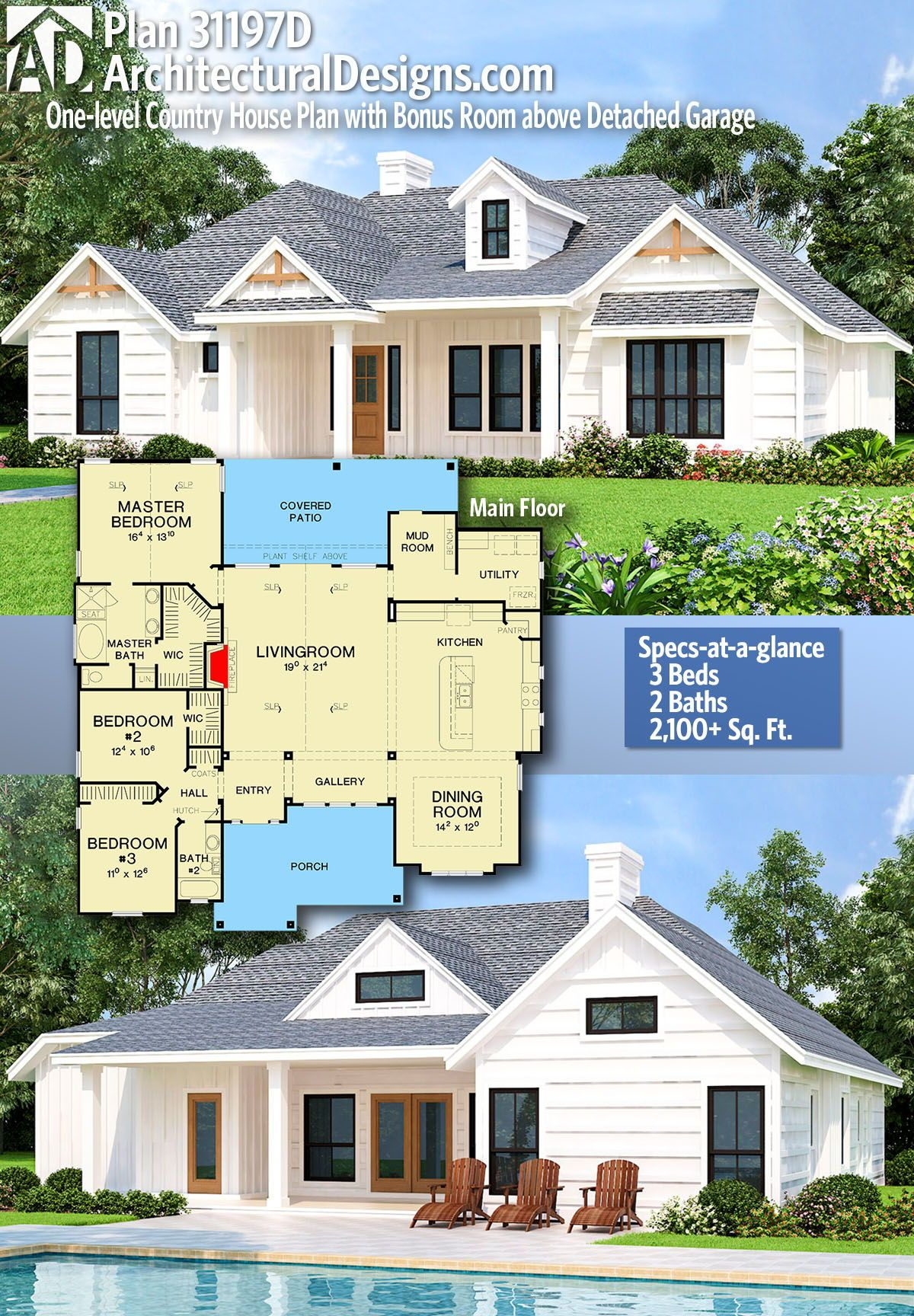 Plan 31197d One Level Country House Plan With Bonus Room Above