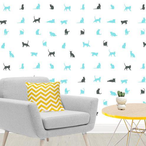 Vinilo decorativo de pared con diseño de gatos Decora las paredes