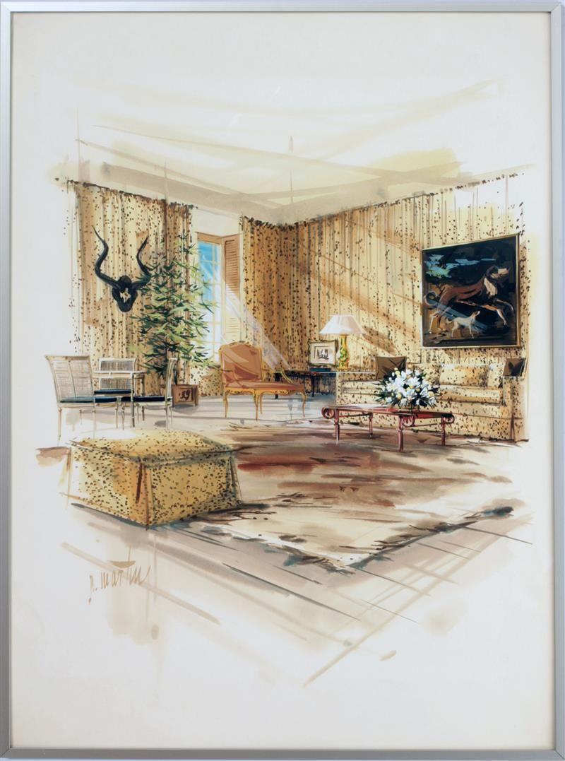 Drawing Room Interior: Angelo Donghia/Yale Burge: Living Room Interior Watercolor