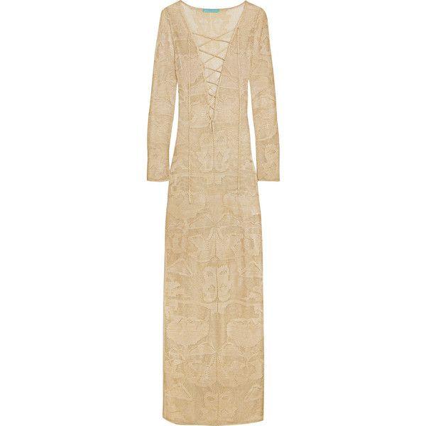 Melissa Odabash Giselle metallic crochet-knit maxi dress ($425) ❤ liked on Polyvore featuring dresses, beige crochet dress, lace up dress, beach maxi dress, macrame dress and metallic maxi dress