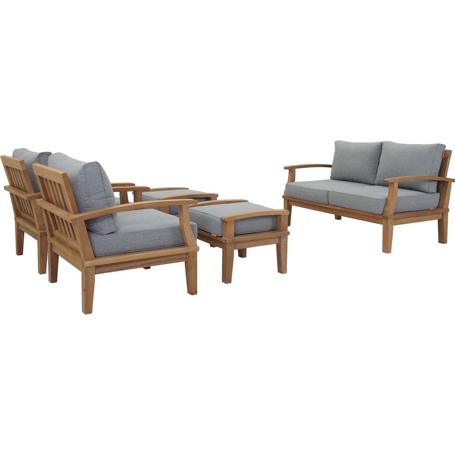 Remarkable Modway Marina 5 Piece Outdoor Sofa Set Teak Gray Fabric In Bralicious Painted Fabric Chair Ideas Braliciousco