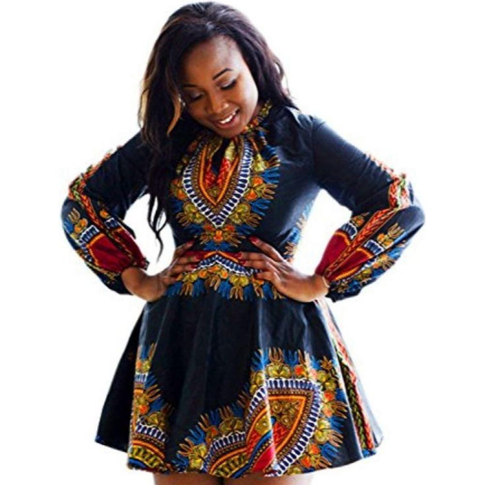 Traditional African Women Dashiki Boho Pleated Swing Dress V Neck Long Sleeve