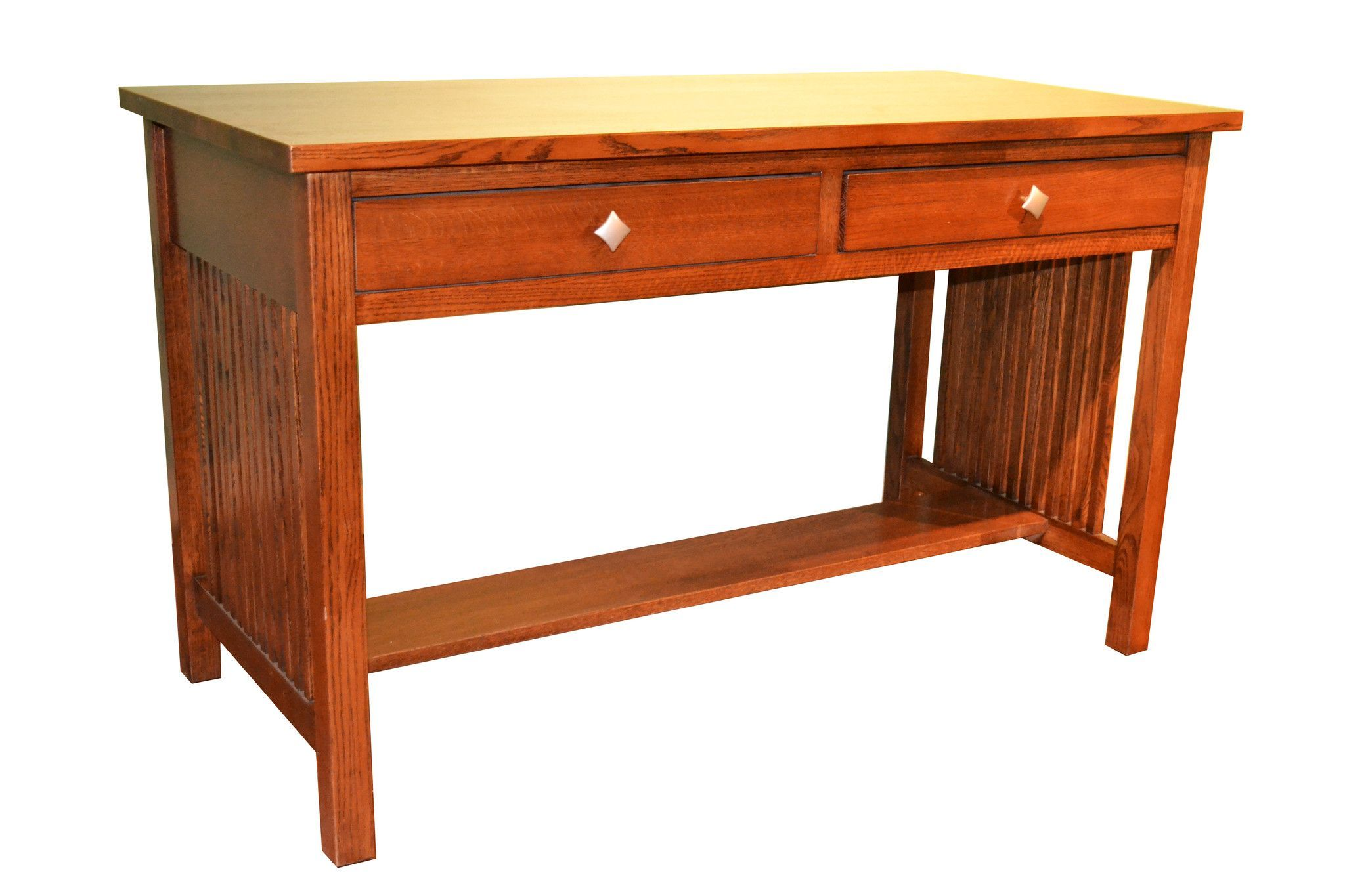 Mission Oak Library Table With Spindles Style Desk Made Of Solid