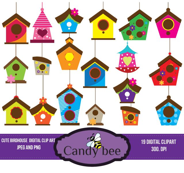cute birdhouse clipart and vectors download from rh pinterest com Birdhouse Graphics Cute Tree Branch