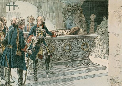 Frederick the Great (1712-1786) at the coffin of the Great Elector. Illustration from House of Hohenzollern in Pictures and Words by Carl Rohling and Richard Sternfeld. Published by Martin Oldenbourg in Berlin, c 1900.