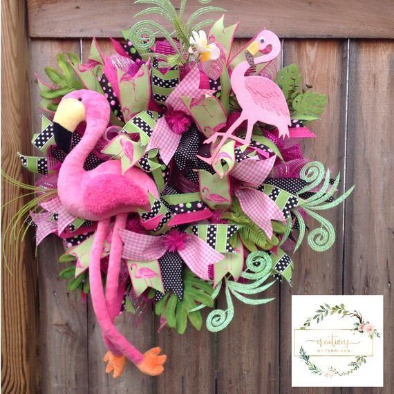 Photo of Flamingo wreath. Summer wreath. Plush flamingo wreath. Tropical wreath. Flamingo decor. Everyday wreath. Door decor. Front door wreath.