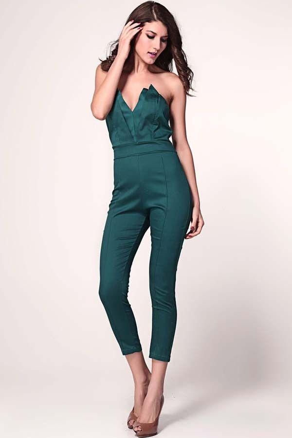f70ffce31af Green Strapless V-neck Jumpsuit   Sexy Rompers And Jumpsuits For  Women-Strapless Jumpsuit