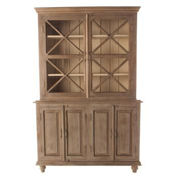 French Country Plantation 2 Door Hutch Cabinet Small Glass Doors
