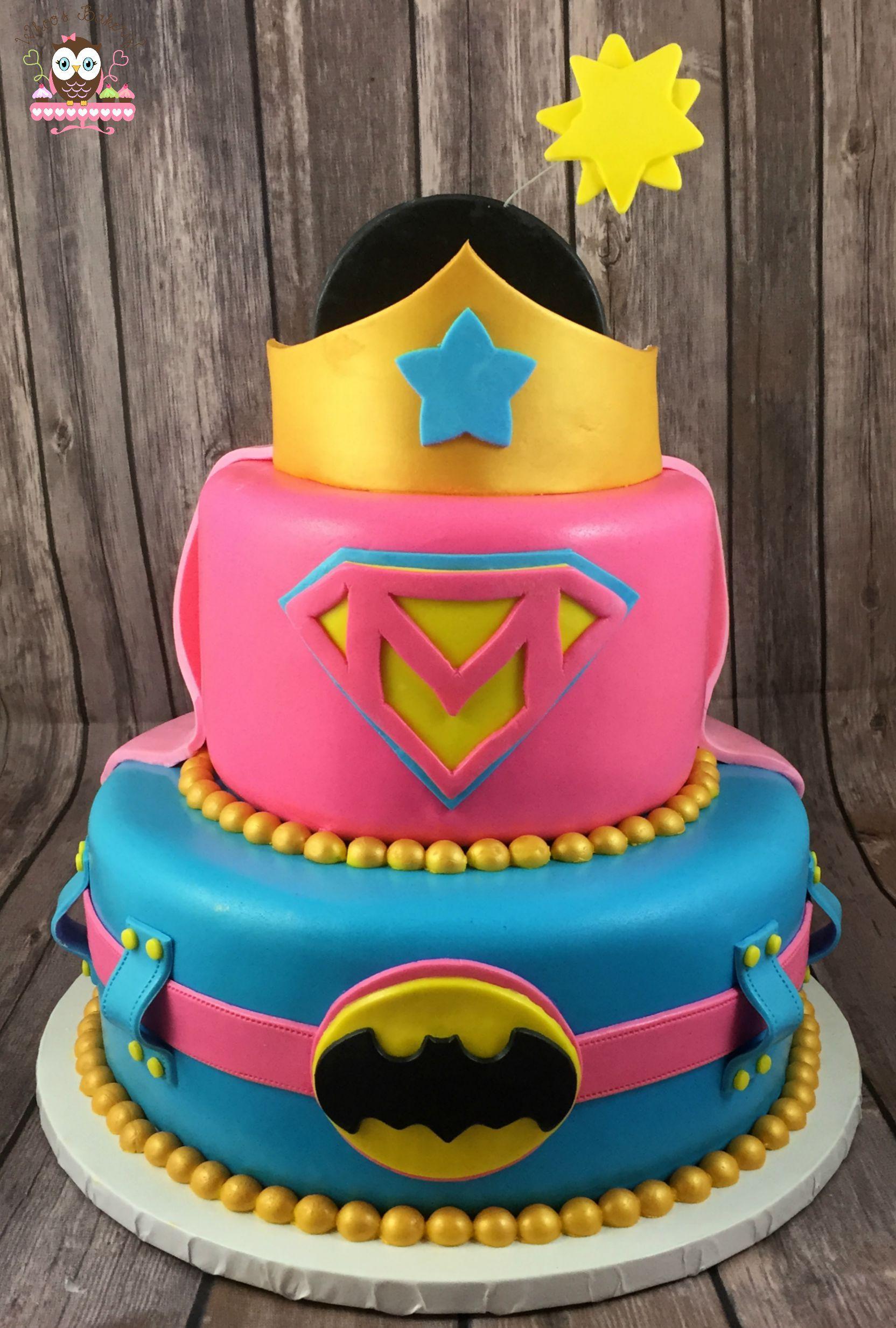 Superhero cake Girl Superhero Cake Pink superhero Batman Cake