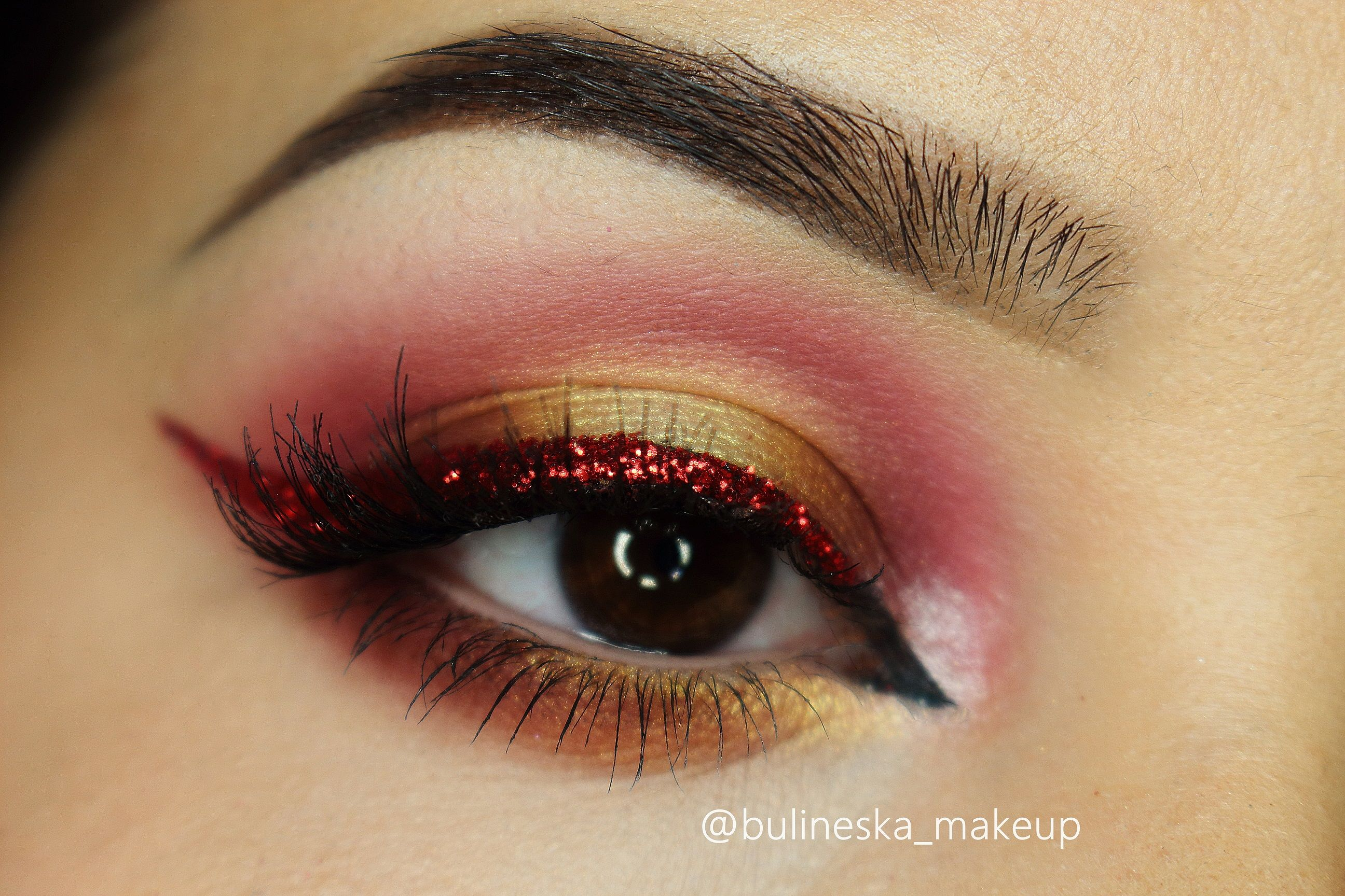 Christmas Ball Makeup Tutorial By Bulineska Makeup Featuring Makeup Geek Eyeshadows In Voltage Bitten Latte Lemon Drop Simp Ball Makeup Makeup Geek Makeup