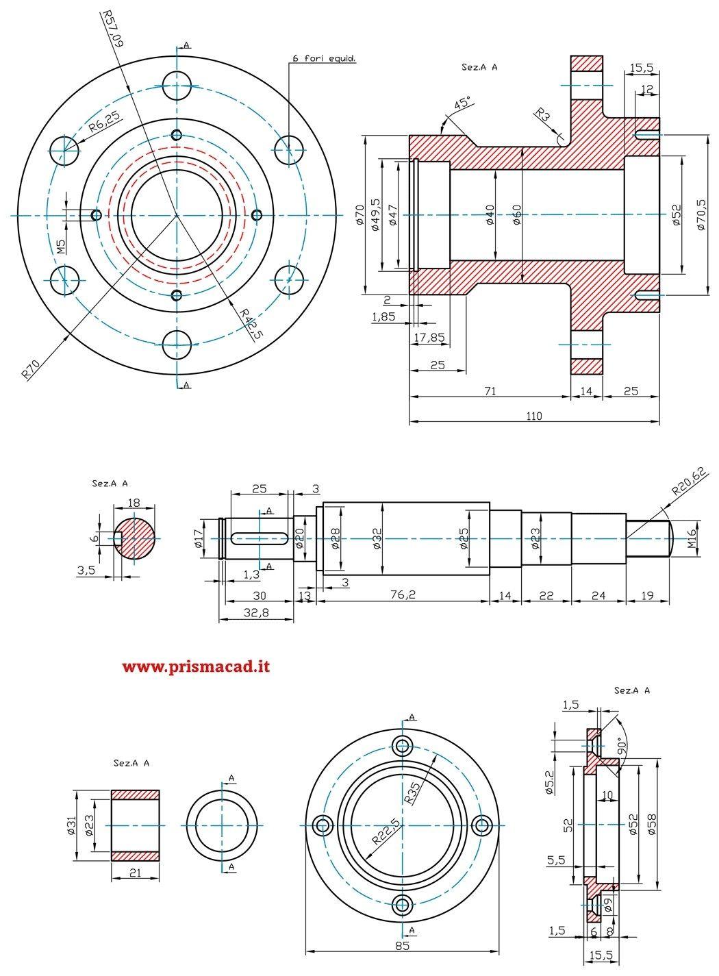 Flangia Con Albero Disegno Tecnico Tecniche Di Disegno Disegni 3d