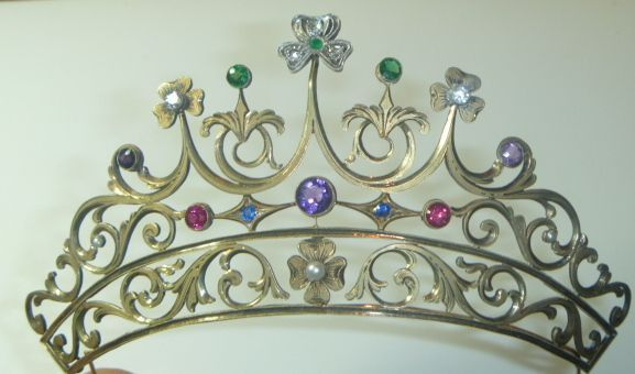 Antique Vermeil, Diamond, Amethyst, Opal, Tourmaline, Synthetic Ruby And Sapphire Tiara