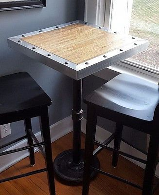 Handmade butcher block style oak industrial steampunk high top explore high top tables pub bar and more watchthetrailerfo