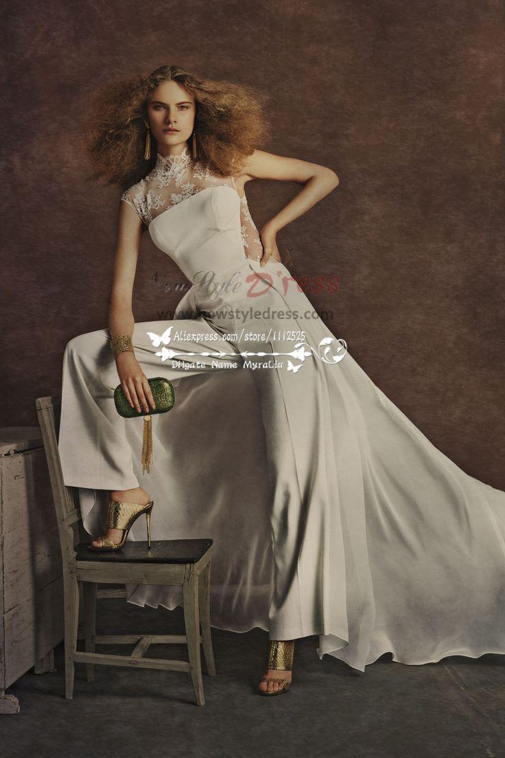 Elegant wedding pant suits - Elegant Wedding Pants Bridal Jumpsuit With Train For Spring Wedding Wedding Pant Suits