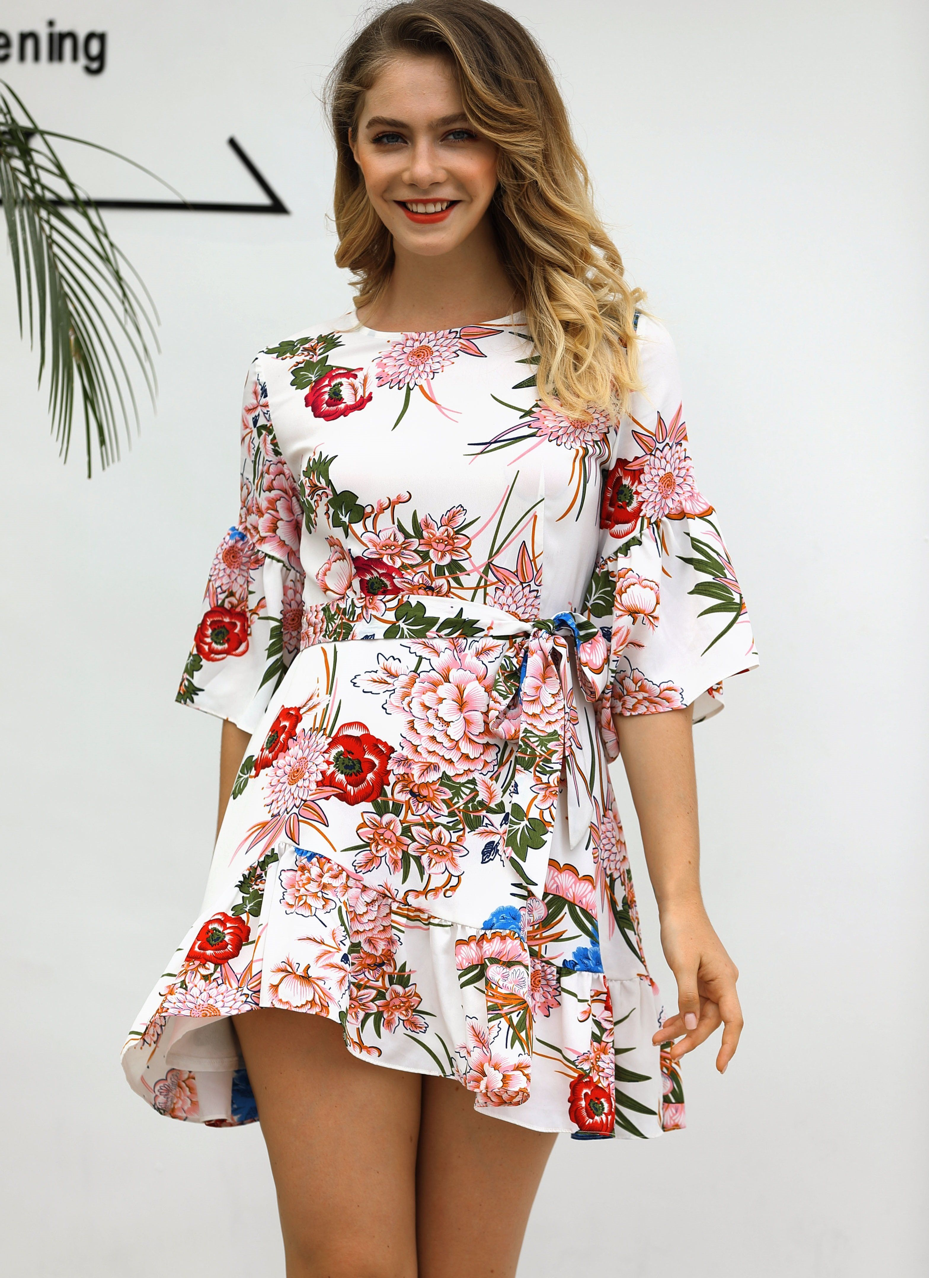 150a07b3103 A-Line Flower Dress with Pop Sleeves | Products in 2019 | Dresses ...