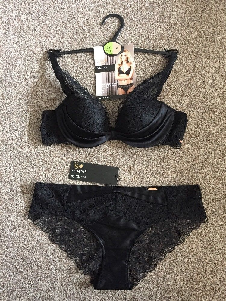 7396becd2130 M&S AUTOGRAPH Rosie LUXURY SILK DEMI PAD BRA UK34B+Knickers UK10 BNWT  RRP£40 Bl