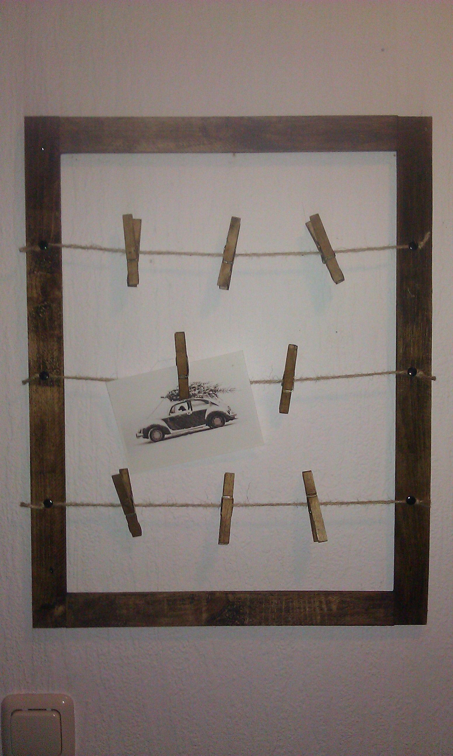 Aus alten Latten einen Rahmen bauen, diesen mit Annie Sloan Wx (dark