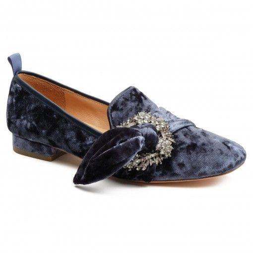 Bill Bl Laverne Tie Loafer In Blue Velvet