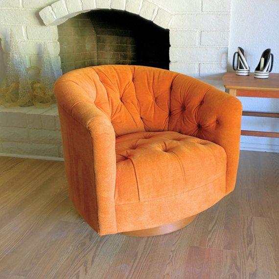 1970u0027s Milo Baughman Swivel Club Chair Swanky Mid Century Modern Orange  Velour Tufted Barrel Back Club