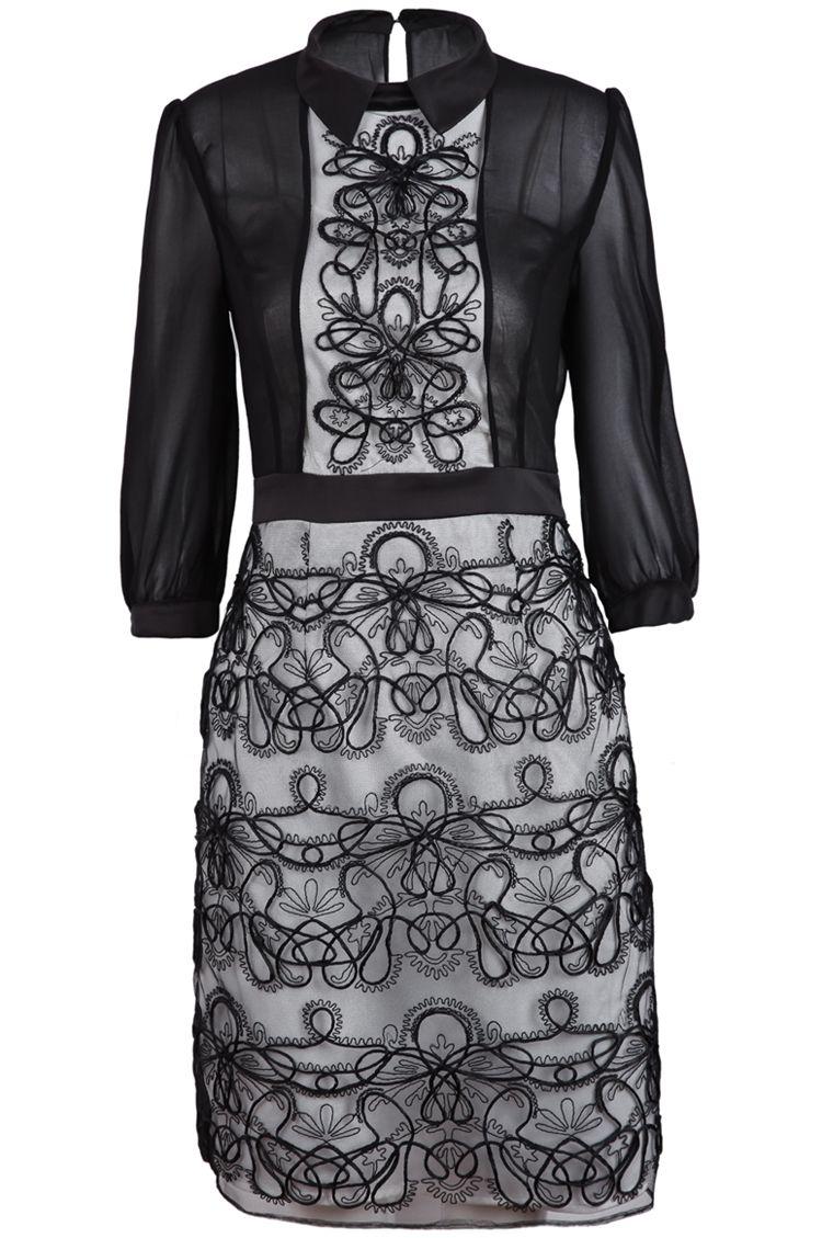 Black long sleeve mesh yoke embroidered dress clothes pinterest