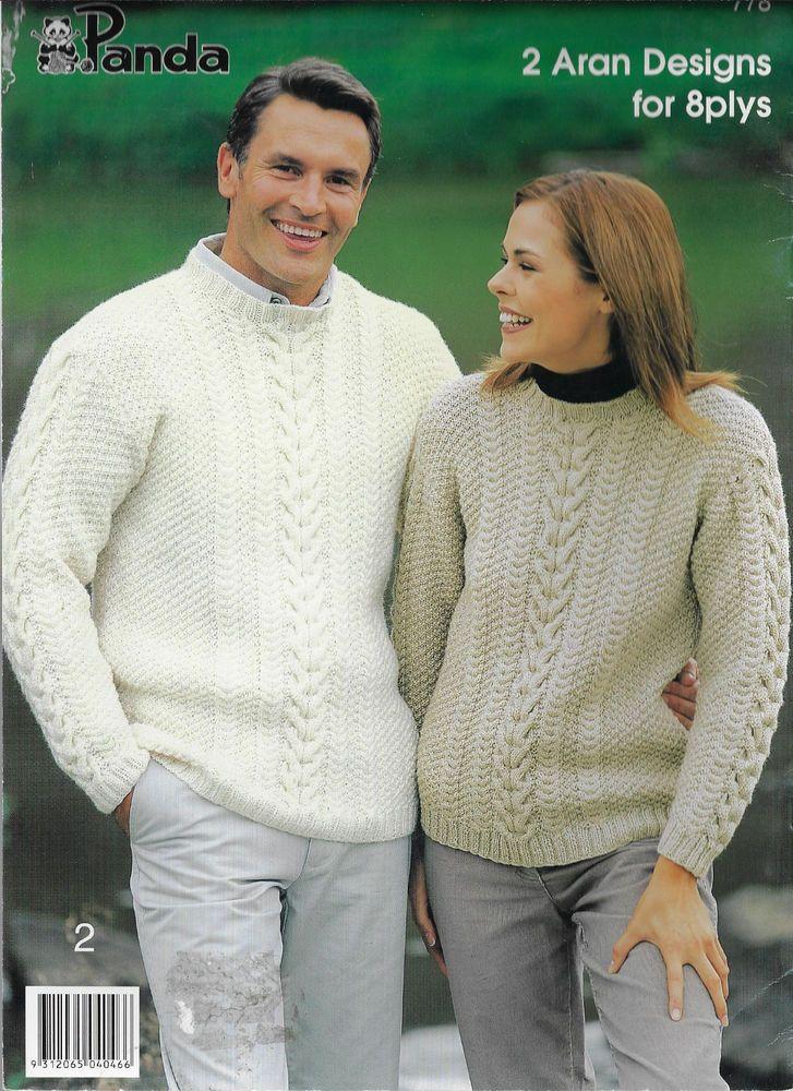 Men\'s & Womens Cable Aran Sweater & Cardigan Panda 778 knitting ...