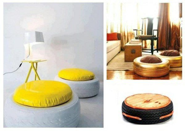 recycling mobel diy mabel aus autoreifen gelb leder sitzplatz selber machen