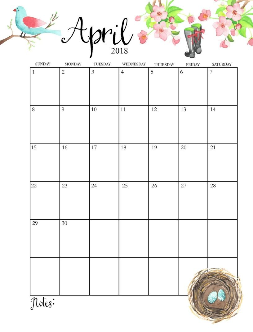 2018 printable monthly april calendar
