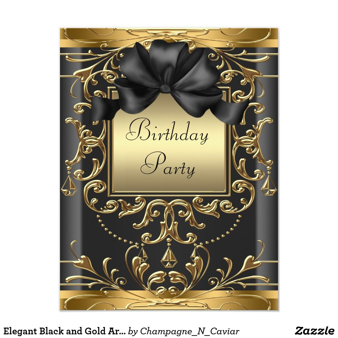 Elegant Black and Gold Art Deco Birthday Party Invitation | Zazzle.com |  Elegant birthday invitations, Gold birthday party, Art birthday party  invitations