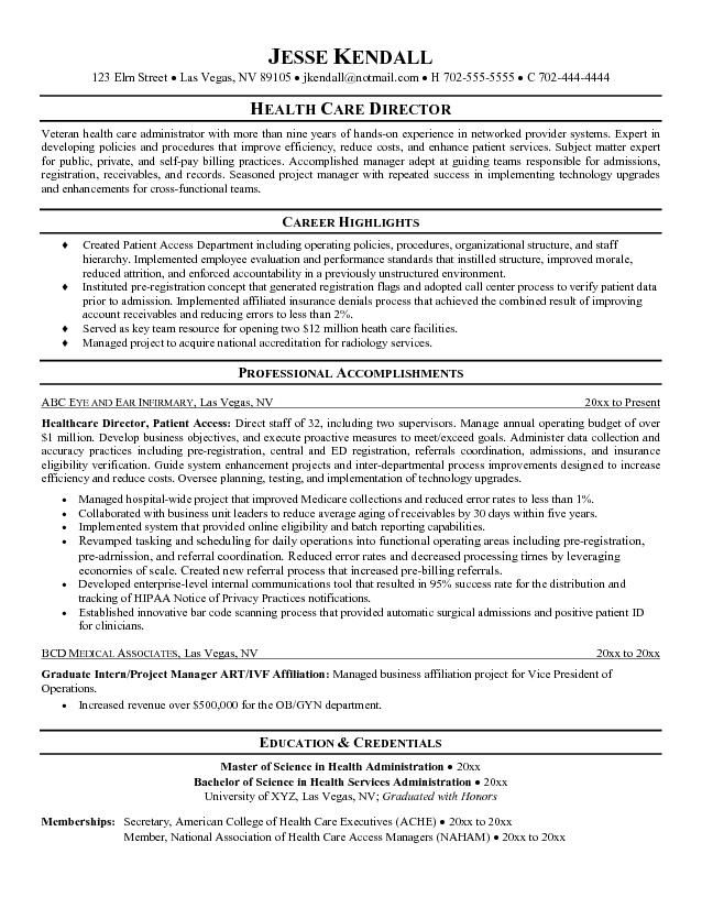 Objective For Healthcare Resume  Healthcare Administration Resume