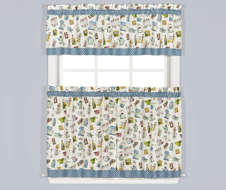 Living Colors Pantry Aplenty Kitchen Tier Valance 3 Piece Set
