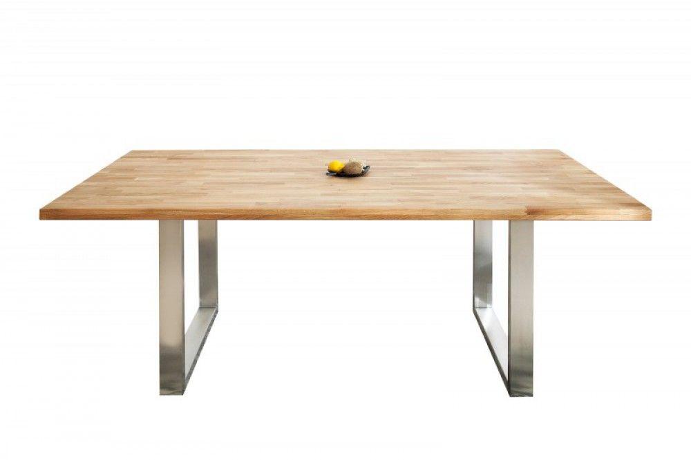 Esstisch Massivholz, Tisch Industrie, Tischbeine Metall Schwarz Grau,, Maße  200 X