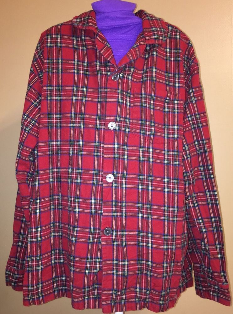 5a6b3b8b7c LL Bean Christmas Plaid Flannel 100% Cotton 2 PC Set Pajamas Loungewear Sz  M