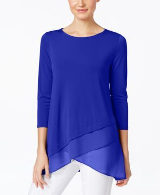 Chiffon Crossover Hem Top Created For