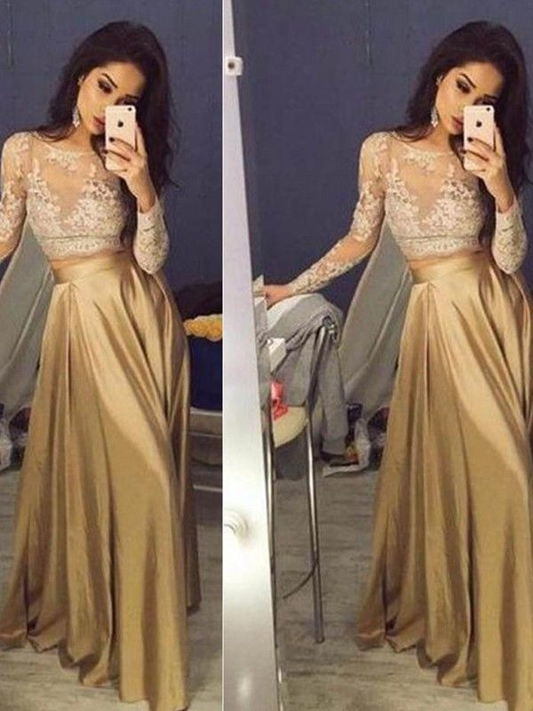 0865a1c81286 A-Line Princess Long Sleeves Scoop Satin Applique Floor-Length Two Piece  Dresses