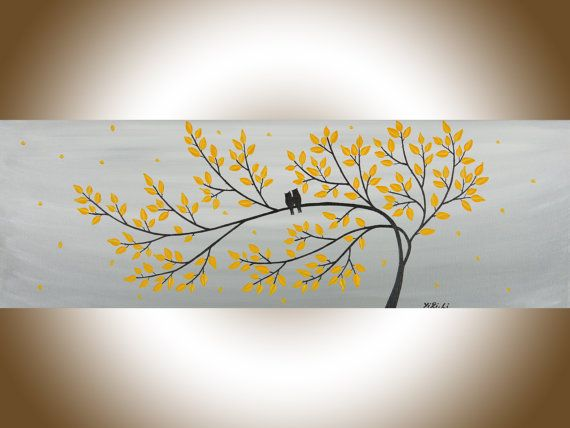 Yellow And Gray Wall Decor owl painting birds art yellow grey acrylic painting wall decor