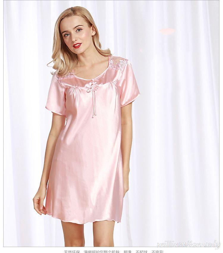 4bfbce9489 Hot Sale Sexy Robe Women Nightwear Mini Nightgowns Deep V-neck and Backless Nightwear  Sleepshirts Soft Silk Sleepwear Nightgowns