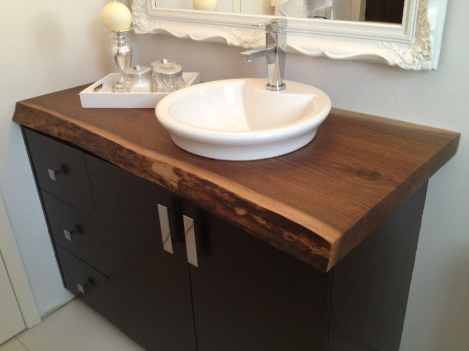 Black Diy Bathroom Vanity With Wooden Top And Round White