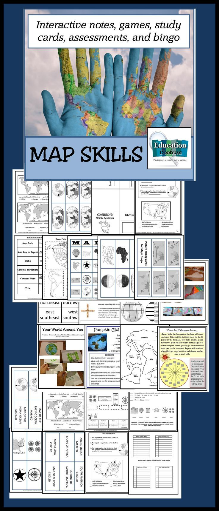 Map skills unit make geography fun with bingo map quiz map bingo game for 30pumpkin globe project symbol notes map quiz for continents and oceans map skills quiz study cards class games and activities gumiabroncs Gallery