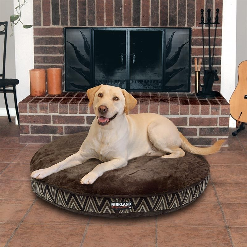 Kirkland Signature Round Pet Bed, Brown Chevron Design Get