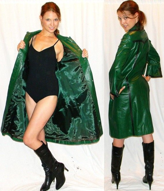 ultra MOD 60s green leather womens trench rain coat | Leather ...