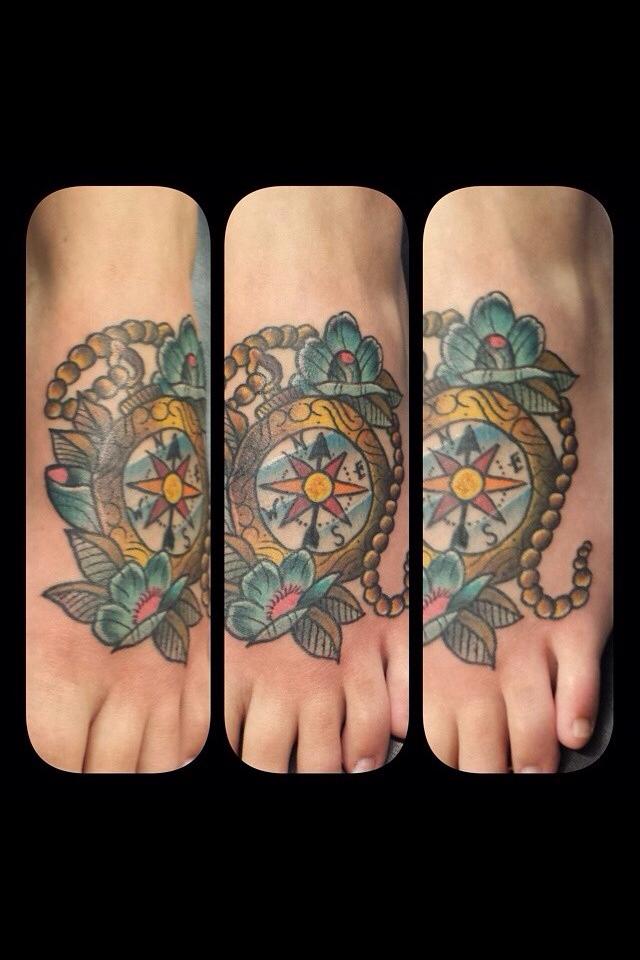 Women's Compass Foot Tattoo
