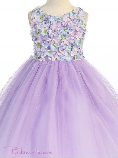 Lilac Floral Bodice with Tulle Overlay Flower Girl Dress