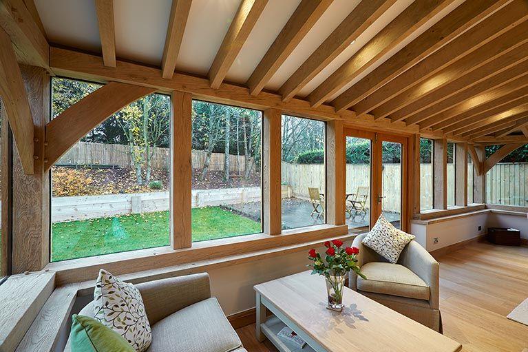 Oak framed garden room inkpen interior extenstion for Oak garden rooms