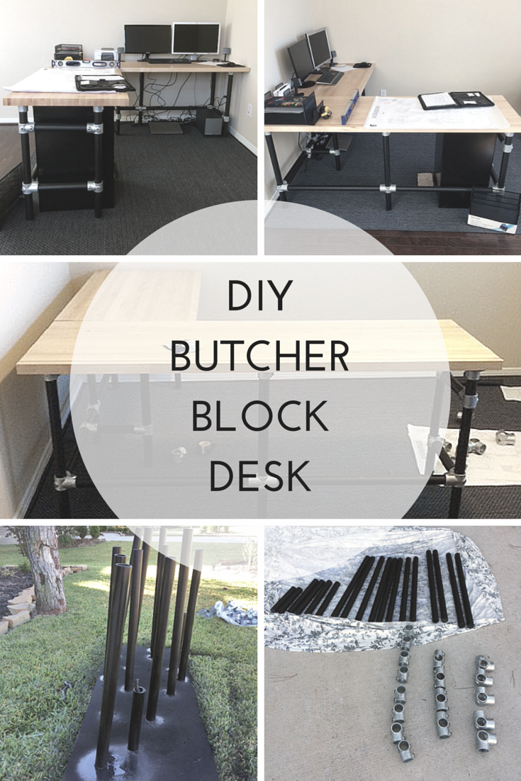 Diy butcher block desk build an l shaped desk with pipe fittings