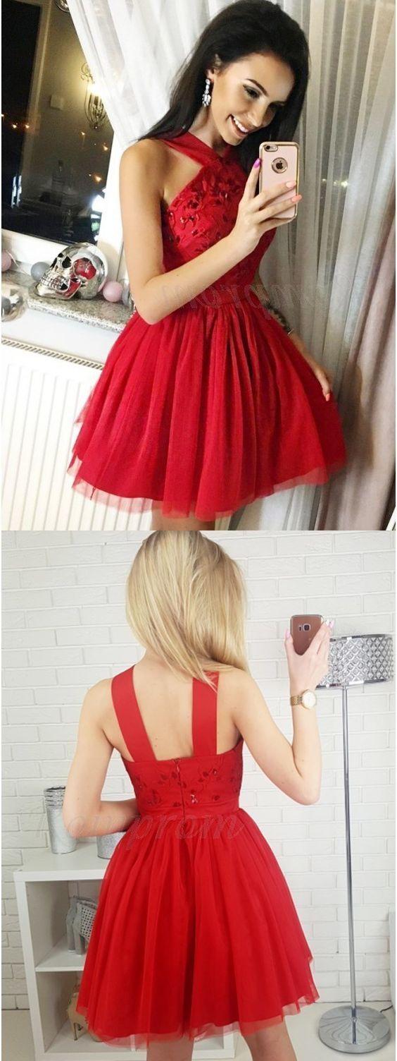 Short red tulle homecoming dress halter evening dress dress