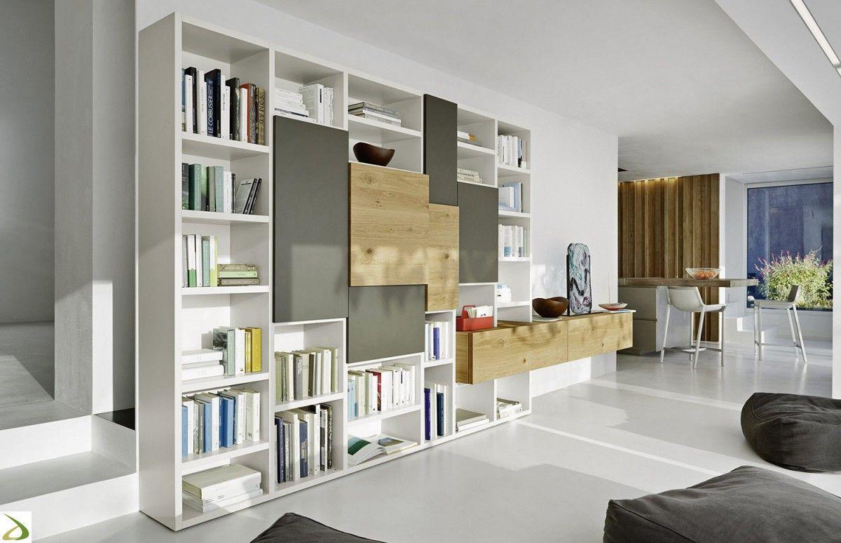Parete libreria design da soggiorno | Home: livingroom | Pinterest ...