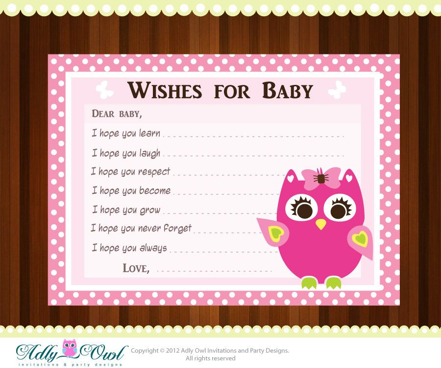 Baby Shower Cards Messages: Pink Girl Owl Baby Shower Wish And Advice Card Printable