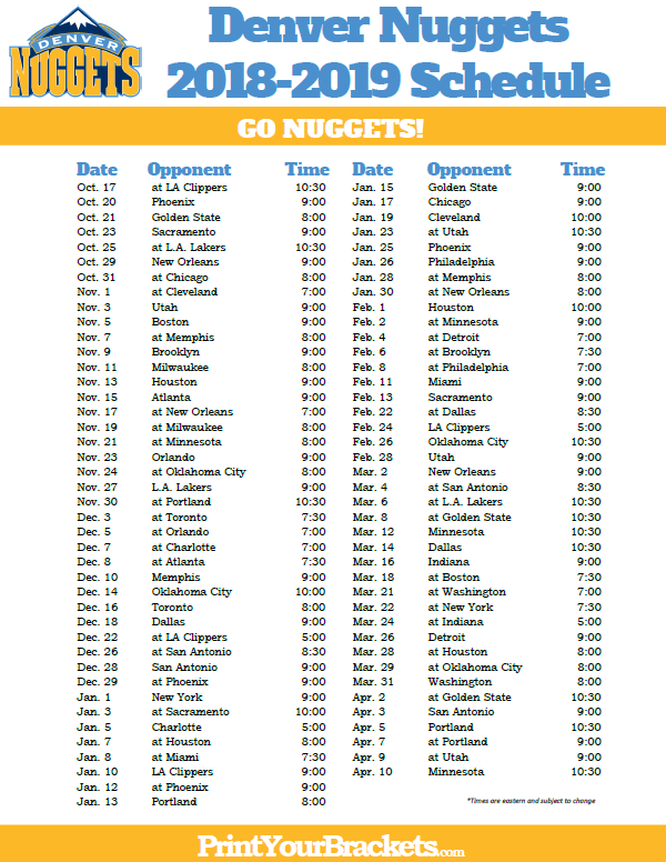 photo about Warriors Schedule Printable referred to as Printable 2018-2019 Denver Nuggets Program Printable NBA