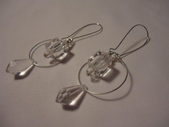 Crystal Clear Dangle Earrings by MasXMenos on Etsy, $5.00